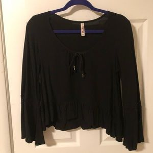 Black Flowy Embroidered Blouse